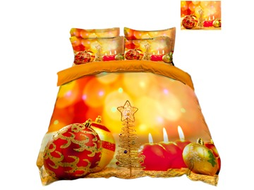 Candle &Golden Christmas Tree Printed 3D 4-Piece Bedding Sets/Duvet Covers