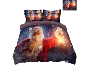 Santa Claus Holding A Lamp& Snow Printed 4-Piece 3D Bedding Sets/Duvet Covers
