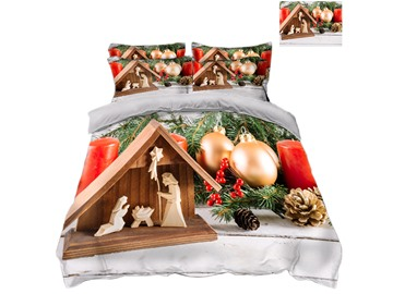 Golden Decorative Ball Christmas Printed 3D 4-Piece Bedding Sets/Duvet Covers