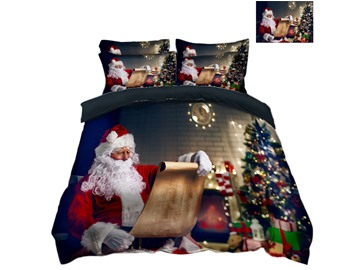 Santa Claus is Reading Book Printed 3D Christmas 4-Piece Bedding Sets/Duvet Covers