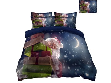 Santa Claus Carrying Presents Snowy Night Printed 3D 4-Piece Bedding Sets/Duvet Covers