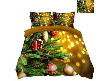 Christmas Tree with Decorations Balls and Light Printed 3D 4-Piece Bedding Sets/Duvet Covers