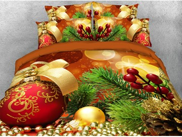 Christmas Golden Balls and Ornaments Printed 3D 4-Piece Bedding Sets/Duvet Covers