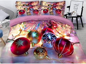 Christmas Decorative Balls Printed 3D 4-Piece Bedding Sets/Duvet Covers