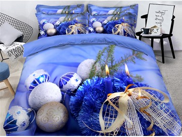Glistening Christmas Tree Blue Printed 3D 4-Piece Bedding Sets Duvet Covers Colorfast Wear-resistant Endurable Skin-friendly All-Season Ultra-soft Microfiber No-fading