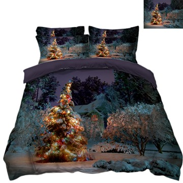 Bling Christmas Tree Quiet Night 3D 4-Piece Bedding Sets/Duvet Covers