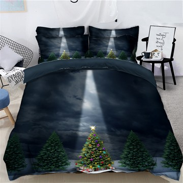 Bling Christmas Tree Quiet Night 3D 4-Piece Bedding Sets Duvet Covers Colorfast Wear-resistant Endurable Skin-friendly All-Season Ultra-soft Microfiber No-fading