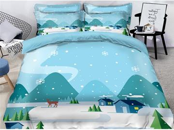 Snowman and Snow Scene 4-Piece 3D Christmas Bedding Sets/Duvet Covers