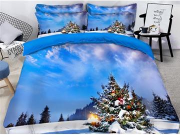 Christmas Tree Blue Sky Printed 3D 4-Piece Bedding Sets/Duvet Covers