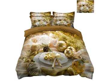 Golden Decorative Ball 4-Piece 3D Christmas Bedding Sets/Duvet Covers