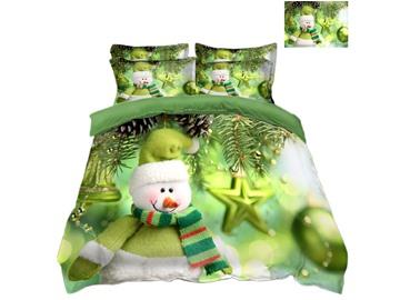 Snowman and Decorative Ball Green 4-Piece 3D Christmas Bedding Sets/Duvet Covers