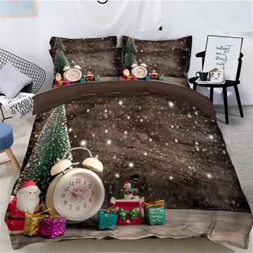 Snowman and Decorative Ball Green 4-Piece 3D Christmas Bedding Sets Duvet Covers Colorfast Wear-resistant Endurable Skin-friendly All-Season Ultra-soft Microfiber No-fading