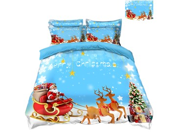 Reindeer Pull Santa's Sleigh Merry Christmas 4-Piece 3D Bedding Sets/Duvet Covers