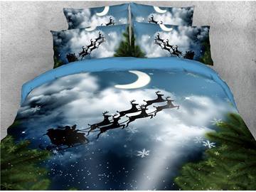 Reindeer Pull Santa's Sleigh under Moon Printed 4-Piece 3D Christmas Bedding Sets/Duvet Cover