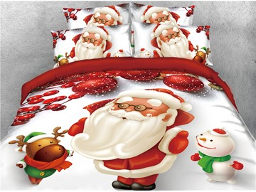 Santa Reindeer and Snowman Printed 4-Piece 3D Christmas Bedding Sets/Duvet Covers