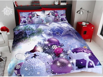 Purple Christmas Decorative Balls 3D Printed 4-Piece Polyester Bedding Sets/Duvet Covers