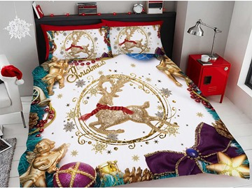 Golden Christmas Deer With Red Scarf 3D Printed 4-Piece Polyester Bedding Sets/Duvet Covers