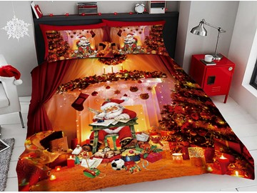Santa Claus Writing Letters Besides The Red Christmas Tree 3D Printed 4-Piece Polyester Bedding Sets/Duvet Covers