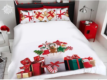 Christmas Presents And Gingerbread 3D Printed 4-Piece Polyester Bedding Sets/Duvet Covers