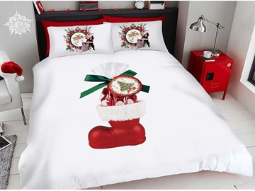 Red Christmas Shoes And Presents 3D Printed 4-Piece Polyester Bedding Sets/Duvet Covers