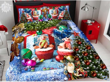 Christmas Gifts Duvet Cover Set 3D Printed 4-Piece Bedding Sets