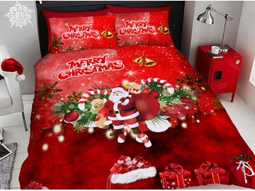 Santa Claus Cartoon Christmas Duvet Cover Set 3D Printed 4-Piece Bedding Sets