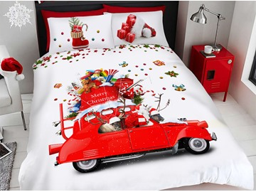 Santa Claus and Santa Car Cartoon Christmas Duvet Cover Set 3D Printed 4-Piece Bedding Sets
