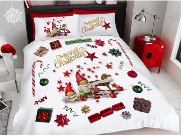 Cartoon Christmas Duvet Cover Set 3D Printed 4-Piece Polyester Bedding Sets
