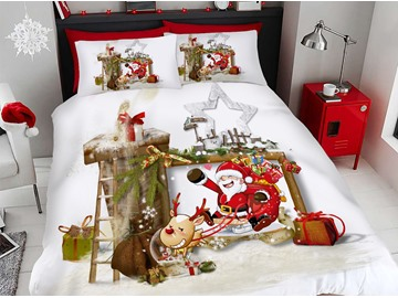 Santa and Deer Cartoon Christmas Duvet Cover Set 3D Printed 4-Piece White Bedding Sets