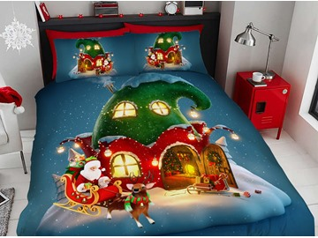 Clown House Christmas Duvet Cover Set 3D Printed 4-Piece Bedding Sets