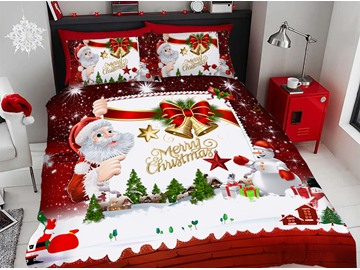 3D Santa Claus Cartoon Christmas Duvet Cover Set 4-Piece Soft Bedding Sets
