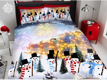 Snowman with Hat Cartoon Christmas Duvet Cover Set 4-Piece Soft Bedding Sets