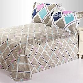 Romantic Gray Rhombus Colorful Stripe Cotton Sheet