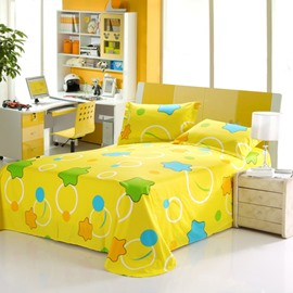 New Arrival Lovely Stars and Circles Print Yellow Sheet