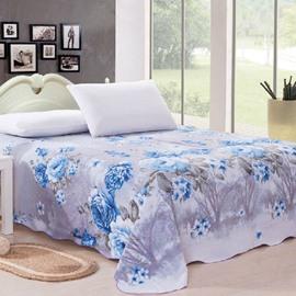 Adorable Blue Peony Print Full Cotton Sheet