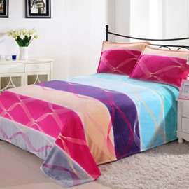 Amazing Rainbow Color Stripes and Fancy Circles Flannel Sheet