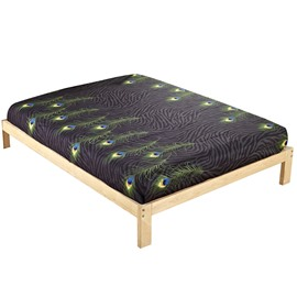 Wonderful Peacock Feather Printing Cotton Fitted Sheet