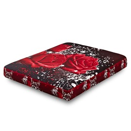 Super Lifelike 3D Roses Printing Cotton Fitted Sheet