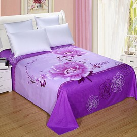 Deluxe Purple Flowers 100% Cotton Printed Sheet