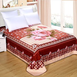 Romantic Pink Rose and Fashion Plaid Printed Sheet