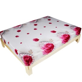 Beautiful Pink Rose with Pearl Print 3D Fitted Sheet