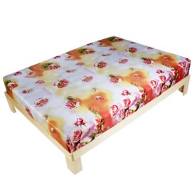 3D Pink Rose Print Cotton Fitted Sheet