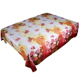 Glamorous 3D Pink Rose Print Cotton Flat Sheet
