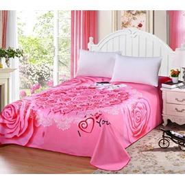 Romantic Bear Doll and Pink Rose Printed Sheet