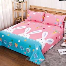 Cute White Rabbit Print Cotton Flat Sheet