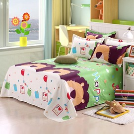 Chic Cartoon Lion Print Cotton Flat Sheet