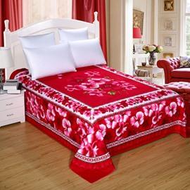 King Size Rose Red Flowers Pattern Cotton Printed Sheet