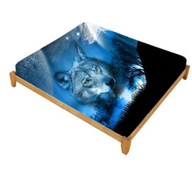 3D Wild Wolf and Natural Scenery Printed Cotton Fitted Sheet
