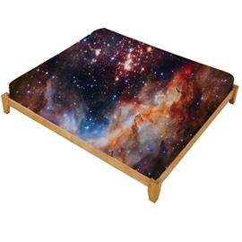 3D Galaxy and Galactic Nebula Printed Cotton Fitted Sheet