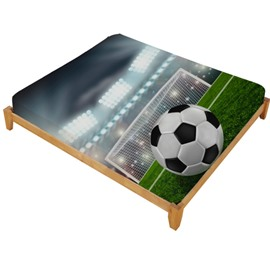 3D Soccer Ball in front of Goal Printed Cotton Fitted Sheet